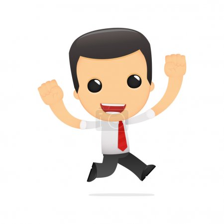Illustration for Funny cartoon manager in various poses for use in advertising, presentations, brochures, blogs, documents and forms, etc. - Royalty Free Image