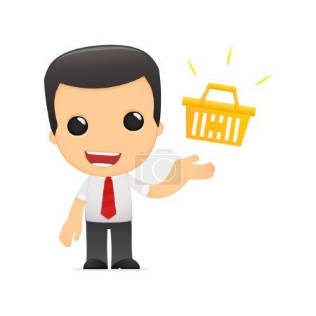 Photo pour Gestionnaire de dessin animé drôle dans diverses poses pour une utilisation dans la publicité, présentations, brochures, blogs, documents et formulaires, etc. . - image libre de droit