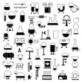 Big set of cartoon mechanisms silhouettes for use in design etc