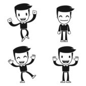 Funny cartoon helper man in various poses for use in advertising presentations brochures blogs documents and forms etc