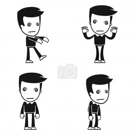 Illustration for Funny cartoon helper man in various poses for use in advertising, presentations, brochures, blogs, documents and forms, etc. - Royalty Free Image
