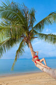 Woman suntanning on the trunk of a palm