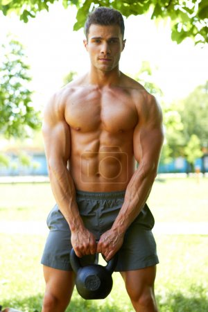 Handsome man during workout