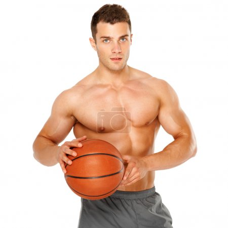 Portrait of a basketball player isolated on white