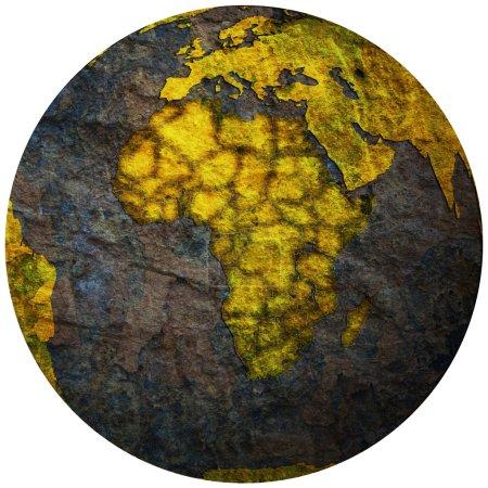 Photo pour Pays africains territoires avec drapeaux sur la carte politique du globe - image libre de droit