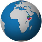 Vlajka Etiopie na mapě světa
