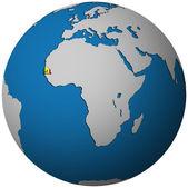 Senegalská vlajka na mapě světa