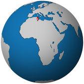 Tunisko vlajka na mapě světa