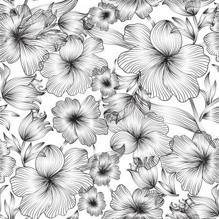 Illustration for Elegant seamless pattern with abstract flowers for your design - Royalty Free Image