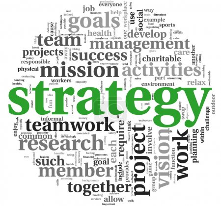 Photo for Strategy and management concept in word tag cloud - Royalty Free Image