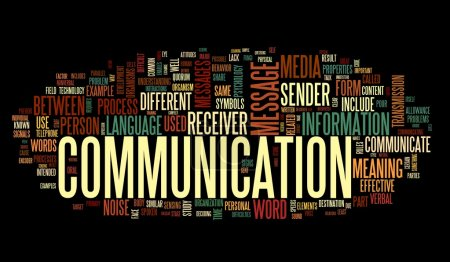 Photo for Communication concept in word tag cloud isolated on black background - Royalty Free Image