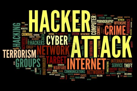 Hacker attack in word tag cloud