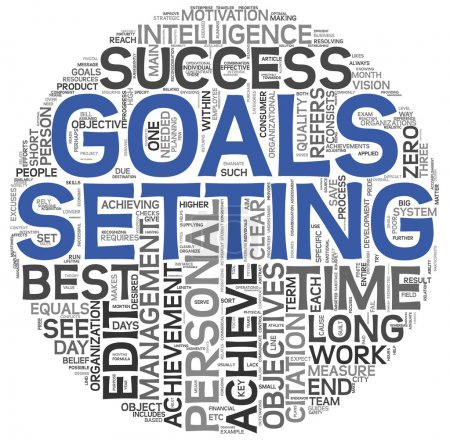 Photo pour Concept de définition des objectifs dans word tag cloud sur fond blanc - image libre de droit