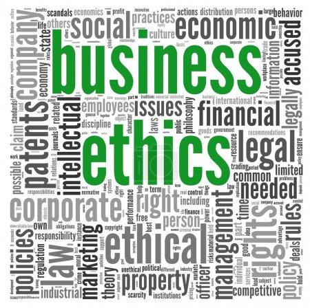 Photo pour Concept éthique d'affaires associés mots en nuage de Tags sur blanc - image libre de droit