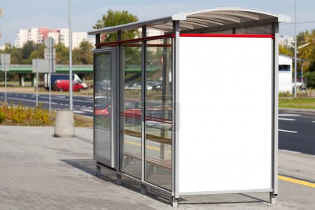 Blank billboard on bus stop