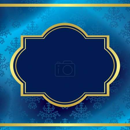 Vector dark blue background with gold frame and pattern