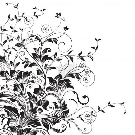 Illustration for Floral drawing of corner decorative background. - Royalty Free Image