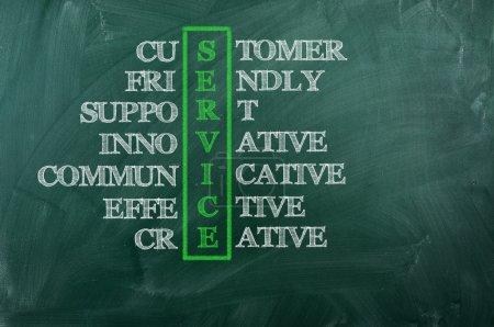 Photo pour Concept de service client sur tableau noir-support client convivial - image libre de droit