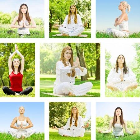 Photo pour Yoga méditation femme collection extérieure . - image libre de droit