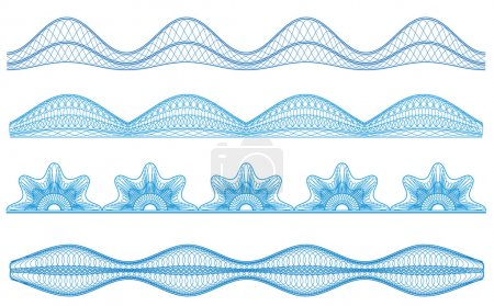 Guilloche borders, vector pattern for currency, certificate or d