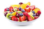 Saláta, friss gyümölcsök és bogyók