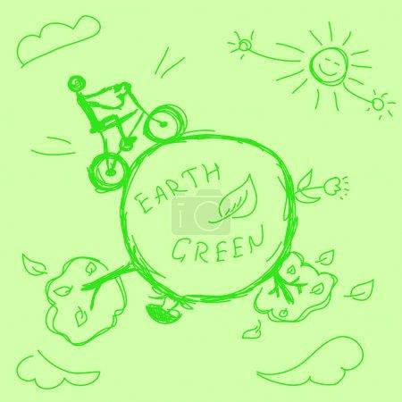 ręcznie rysowane zielony ziemia
