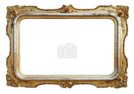 Photo pour Cadre ancien en bois d'or isolé sur blanc . - image libre de droit