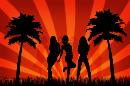 Summer party with beauty silhouette girls