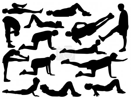 Silhouettes of man and woman stretching and exercise