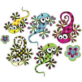 Colorful custom illustration of spotted lizards and flowers