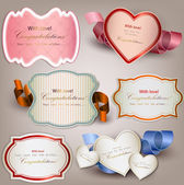 Set of holiday banners and labels with ribbons Vector backgrou