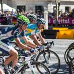 Paris,France, July 22nd 2012: The peloton riding d...
