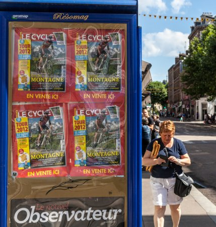 Rouen,France,July 5th, 2011: Image of a billboard ...
