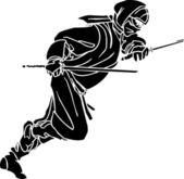 Ninja bojovník - vektorové ilustrace. Vinyl připraven