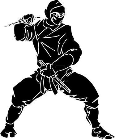 Illustration pour Combattant Ninja - illustration vectorielle EPS. Prêt pour le vinyle . - image libre de droit