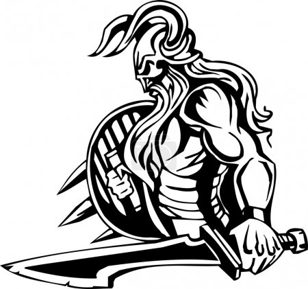 Illustration pour Viking nordique - illustration vectorielle blanche noire. Prêt pour le vinyle . - image libre de droit