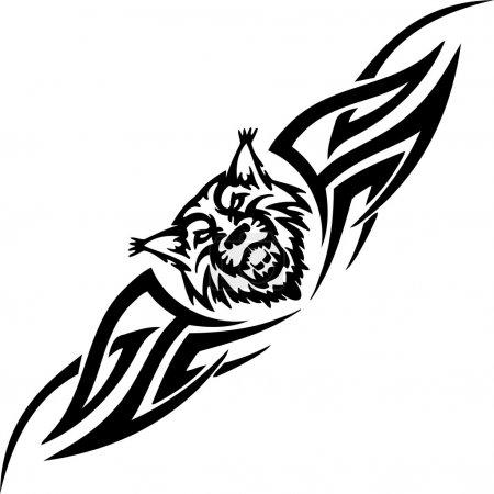 Illustration pour Tête prédatrice et tribus symétriques - illustration vectorielle - image libre de droit