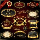 Retro vector gold frames Premium design elements