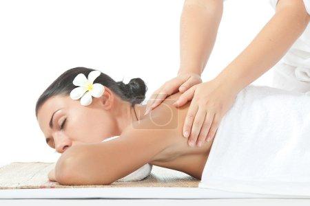 Photo pour Portrait de jeune belle femme massage sur le dos blanc - image libre de droit