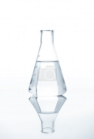 Laboratory flask with a clear liquid