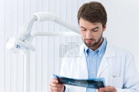 Dentist studies the roentgenogram