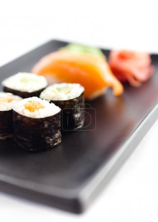 Plate with sushi, isolated