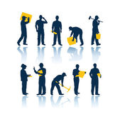 Set of workers silhouettes