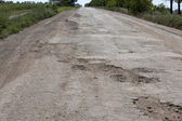 Broken road in Ukraine, Odessa region, 2012, July