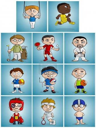 Photo for Athletes of various sport disciplines cartoon style illustrated - Royalty Free Image