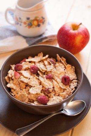 Breakfast cereals and apple