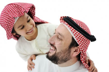 Arabic Muslim father and son