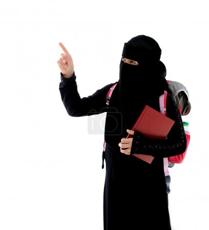 Arabic student girl pointing with finger