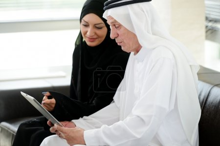 Two couple muslim on office