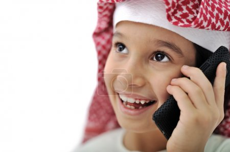 Little Arabic kid with phone